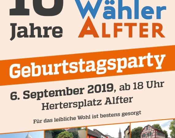 10 Jahre FREIE WÄHLER Alfter im Gemeinderat – das wollen wir mit Ihnen zusammen feiern